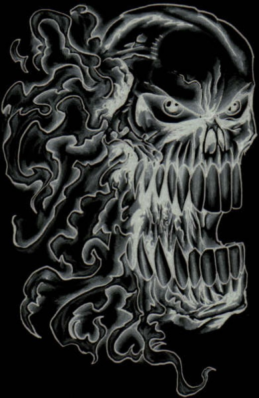 A Flaming Skull Drawing. By Wayne Tully Copyright  2010