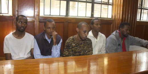 Suspects From left: Sahal Hussein, Hassan Aden, Mohammed Abdi, Osman Abdi and Mohammed