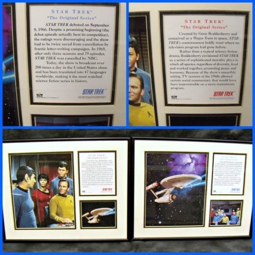 Two Star Trek original series collectors edition prints. One print is a picture of the U.S.S. Enterprise with a small picture of the cast in the corner. The second is a picture of Spock, Uhura, McCoy, and Kirk, and a small picture of the Enterprise i