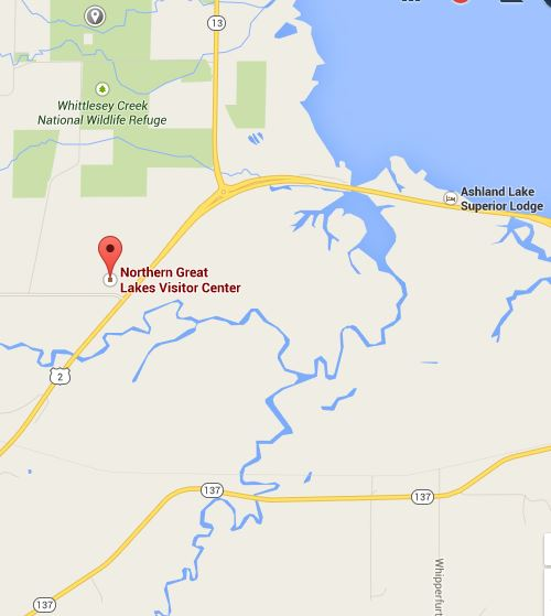Map: Northern Great Lakes Visitor Center, 29270 Co Highway G, Ashland, WI 54806, USA