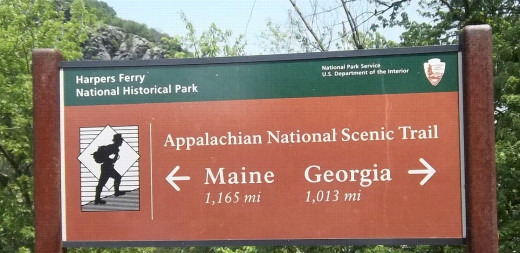 The Appalachian Trail is a continuous marked footpath leading from Georgia to Maine