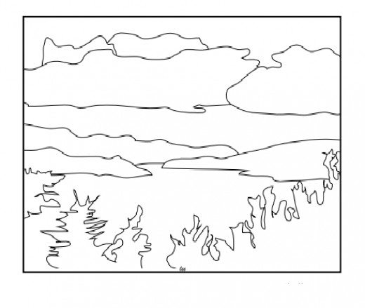 Lake Champlain, Vermont  art sketch adult coloring page