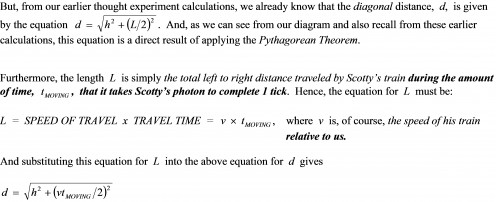 STEP 2: Obtain an equation for the diagonal distance  d  in terms of the photon clock height  h, the relative speed of Scotty's train v, and the amount of time that it takes Scotty's moving photon clock to complete 1 tick