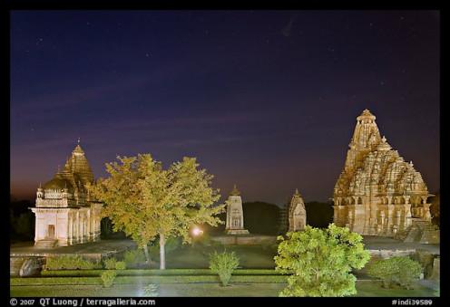 Temples of western group at night -KHAJURAHO