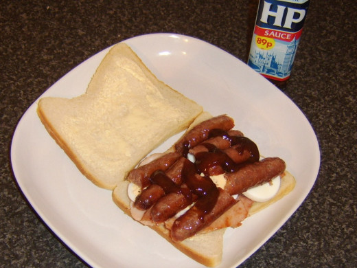 HP Sauce is an optional but tasty addition to this sandwich
