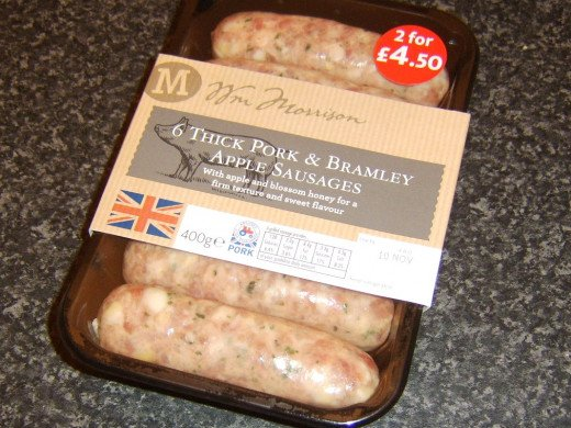 Pork and apple sausages