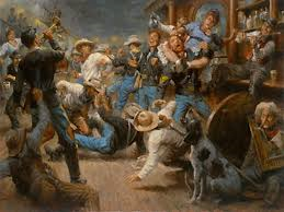 Brawls were common inside a saloon. Actually if there were no brawls, the saloon wasn't that exciting.
