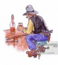 Drinking alone. You saw this a lot in most of the early saloons.