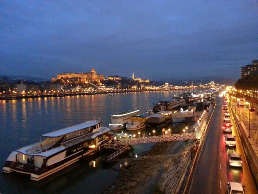 Buda Castle from the Elisabeth Bridge across the Danube River.