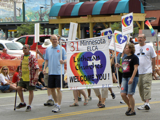 Lutherans marching in the Twin Cities Pride Parade in Minneapolis, MN.