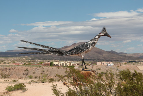 Roadrunner Sculpture made of recycled materials.