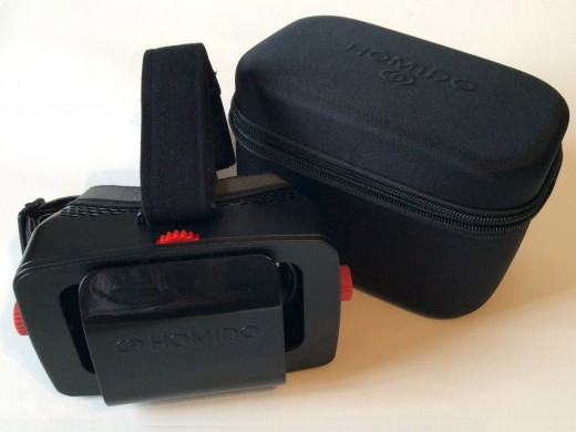 Homido headset with its rigid foam carrying case.