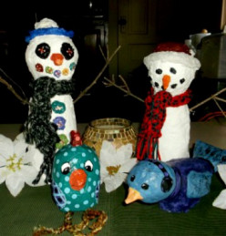 Paper Mache Clay Snowmen, Bird and Chick