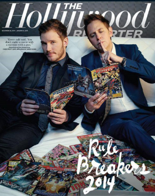 """""""Guardians of the Galaxy"""" actor Chris Pratt and director James Gunn in the photo that spawned DC-related rumors."""
