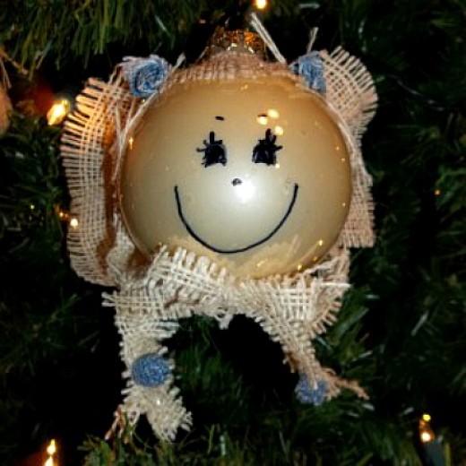 burlap angel ornaments, burlap and denim ornaments