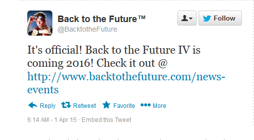 "This is bogus Tweet that started the ""Back to the Future 4"" rumor."