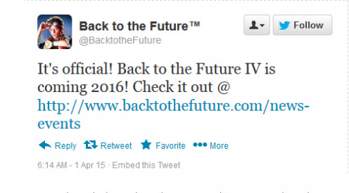 """This is bogus Tweet that started the """"Back to the Future 4"""" rumor."""