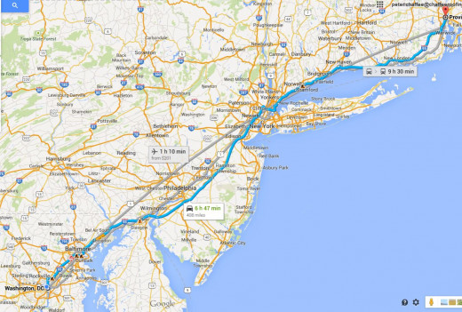 The blue line on the map shows the road that we took to drive to Washington!
