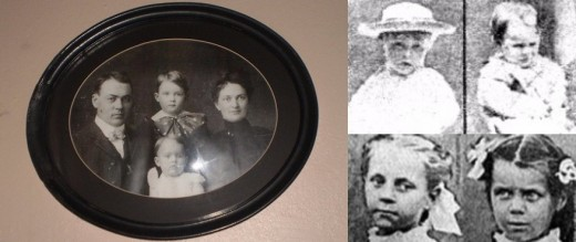 Left Photo | Josiah, Herman, Katherine and Sarah Moore | Upper Right: Boyd and Paul Moore | Lower Right: Lena and Ina Stillinger