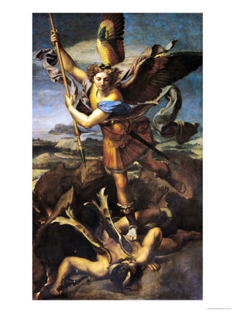The theme of this painting by Raphael is taken from Revelation