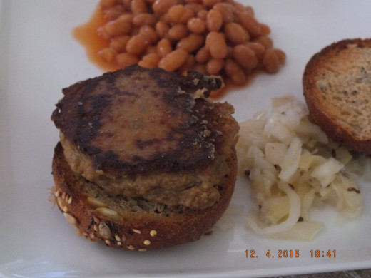 Use your imagination for any toppings. I used my homemade sauerkraut and that made for an awesome tofu burger!  Served along with the baked beans, I am ready for summer!