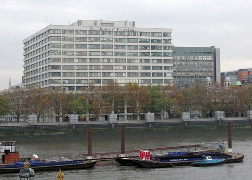 St. Thomas' Hospital, an NHS hospital on the banks of the River Thames in London
