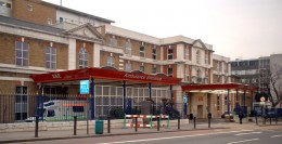 King's College Hospital, London, showing the entrance to the Casualty Department, also known as Accident and Emergency
