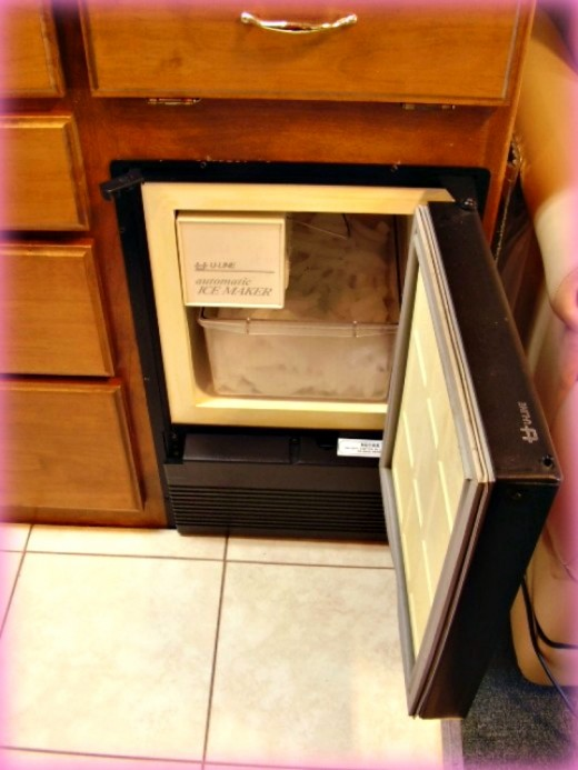 The stand alone ice maker can hold 22 pounds of ice and can also double as an extra freezer.