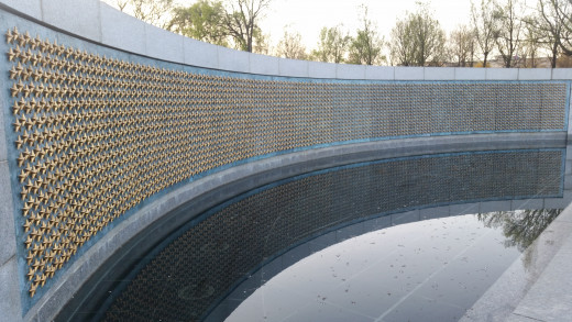 Each star on this wall represents 100 soldiers who fought in World War 2 for our country.