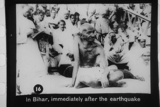 Mahatma Gandhi on a visit to Bihar after the calamity.