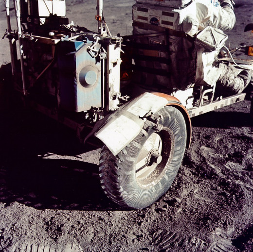 "A grey strip of ""duct tape"" an be seen on a repair made to the lunar rover in December 1972 (Apollo 17)."