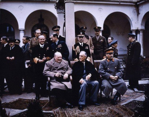 Churchill, Roosevelt and Stalin, the famous meeting in Yalta (February 1945)
