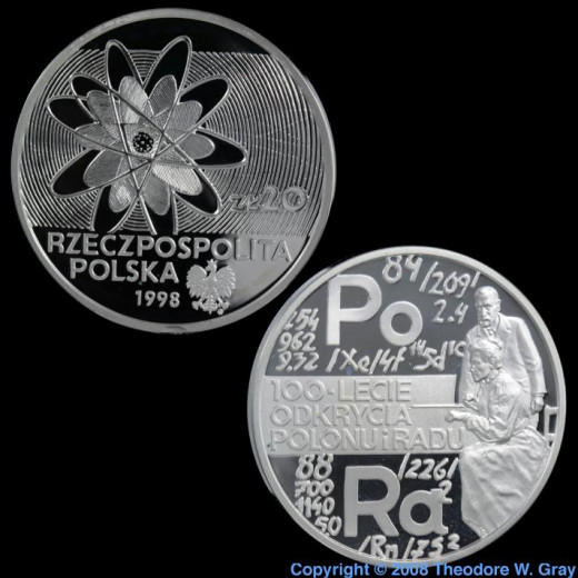 This coin of 99.9% purity was issued by the Polish government to commemorate the 100th anniversary of the discovery of Radium