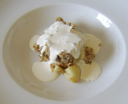 Cold crumble served with pouring cream