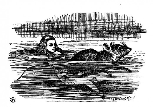 """…she soon made out that she was in the pool of tears which she had wept when she was nine feet high.  """"I wish I hadn't cried so much!  I shall be punished for it now, I suppose, by being drowned in my own tears!"""""""