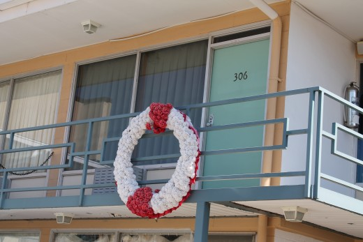 The balcony of the Lorraine Motel where Martin Luther King was assassinated.