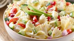 Bow Tie Pasta with ranch dressing and cucumbers added