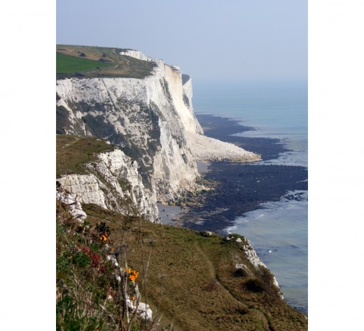 "Landslip at the chalk cliffs, the ""White Cliffs"" near Dover, at low tide"