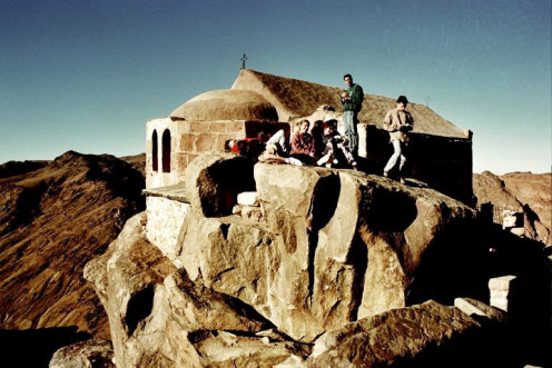 Rear side view of Holy trinity church at the summit of Sinai Mountain