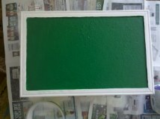 You can paint your bulletin board many different color.  I decided on a dark green for my smallest bulletin board.
