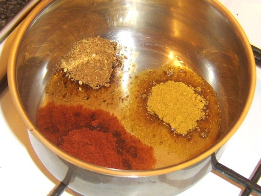 Preparing to gently fry spices for bhuna sauce