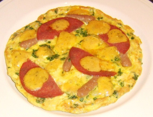 Frittata is ready to be garnished and served