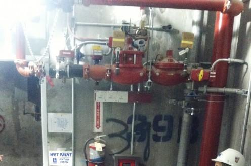 Sprinkler System in a stairwell, photo taken by Randi Glazer