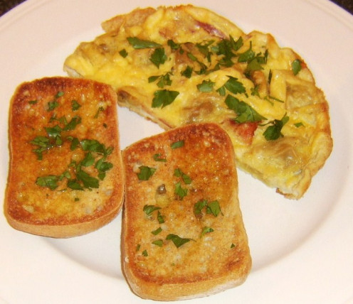 Mushroom tortelloni and bacon frittata served with bruschetta