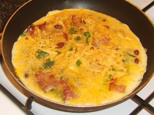 Cheese scattered on frittata