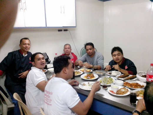 Eating our prepared dishes on European cuisine (Photo Source; Ireno A. Alcala)