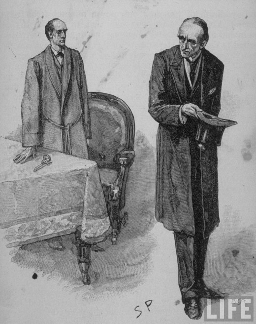 "Sidney Paget illustration of Holmes and Moriarty in ""The Final Problem"""