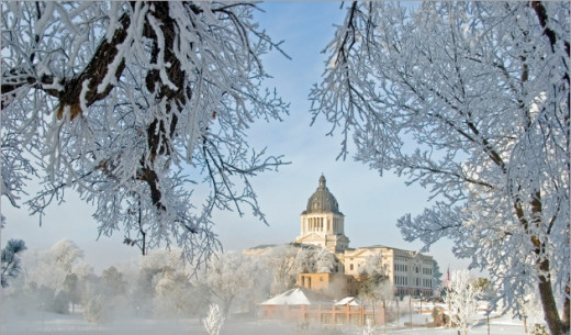 Pierre, South Dakota in the winter.