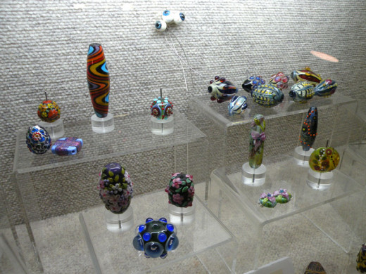 Wendy's collection of American and Japanese Contemporary Art Glass lampwork - a mix of her own work and that of other glass artists.