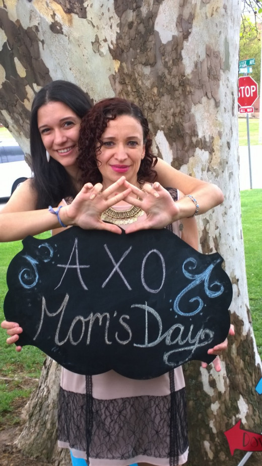 My daughter and I at her latest Alpha Chi Omega event